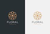 Luxury flower vector emblem. Universal linear floral symbol.