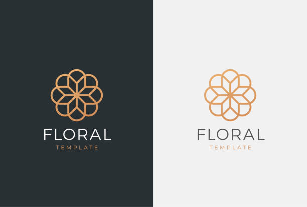 luxury flower vector emblem. universal linear floral symbol. - abstract icons stock illustrations