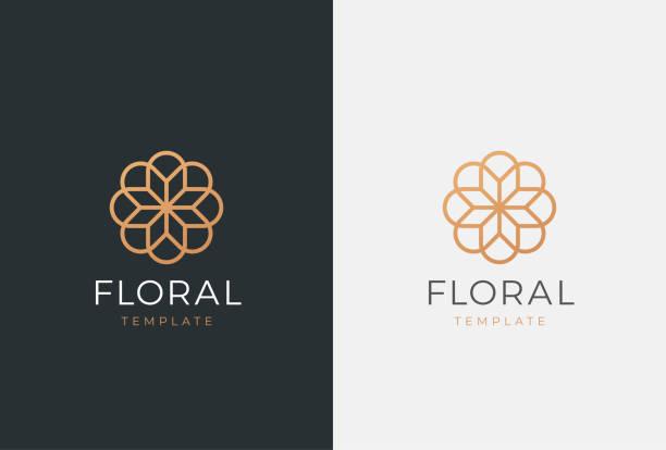 ilustrações de stock, clip art, desenhos animados e ícones de luxury flower vector emblem. universal linear floral symbol. - logótipo