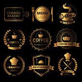 Luxury food and drink labels set, black labels with golden frame
