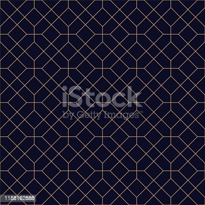 Luxury geometric seamless ornamental background. Grid repeatable golden pattern - elegant blue symmetry design. Rich decorative texture.