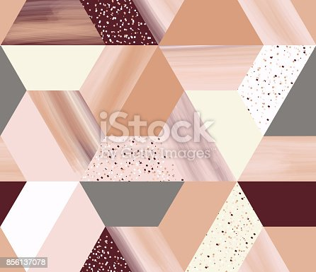 istock Luxury geometry hexagonal abstract seamless pattern in rose gold/beige theme with glitter 856137078