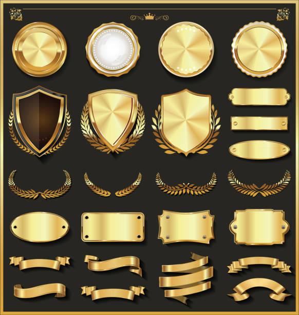 kolekcja luksusowych złotych i srebrnych elementów - insygnia stock illustrations