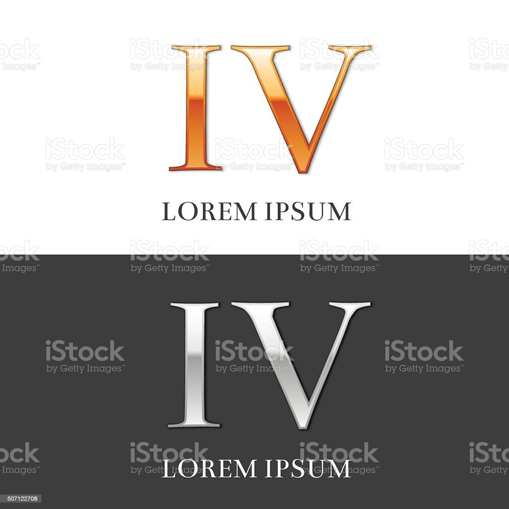 4 Iv Luxury Gold And Silver Roman Numerals Sign Symbol Stock Vector