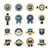 Luxury gold badges quality labels premium set. Collection medal emblem badges differents shape with ribbons, crowns, stars vector isolated illustration
