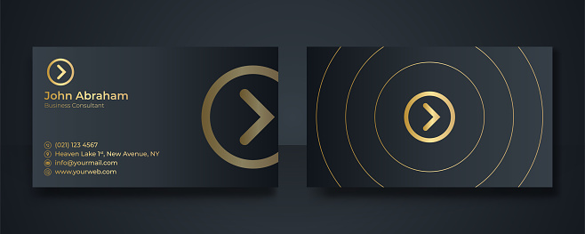 Luxury gold black business card design template with gold art deco geometric lines. Dark background with modern corporate concept. Blue gold modern business card design