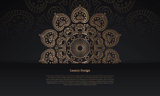 Luxury gold black mandala frame vector background.stock illustration