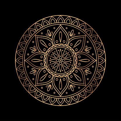 Luxury gold black mandala vector. Ethnic royal pattern snowflake. Golden sun design