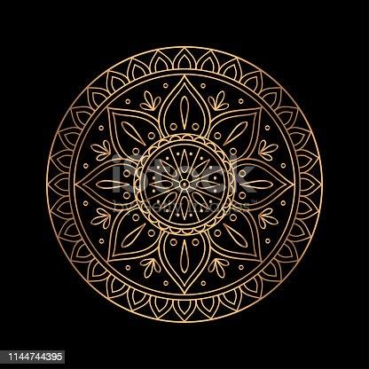 Luxury gold black mandala vector. Ethnic royal pattern snowflake. Golden sun design for Christmas ornaments, holiday card decoration, beauty spa salon or yoga studio decor, wedding invitation.