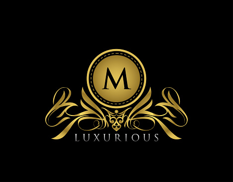 Luxury Gold Boutique M Letter Logo. Golden floral badge design  for Royalty, Letter Stamp, Boutique,  Hotel, Heraldic, Jewelry, Wedding.