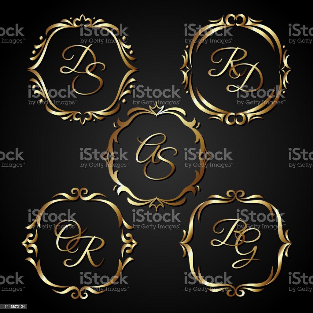 luxury gold circle frame. vintage ornament, greeting card wedding...