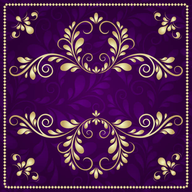 Purple and gold stock vector. Illustration of calligraphy