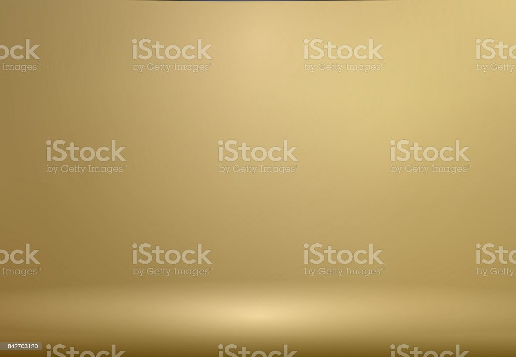 Luxury Gold Studio room background with Spotlights well use as Business backdrop, Template mock up for display of product, Vector vector art illustration