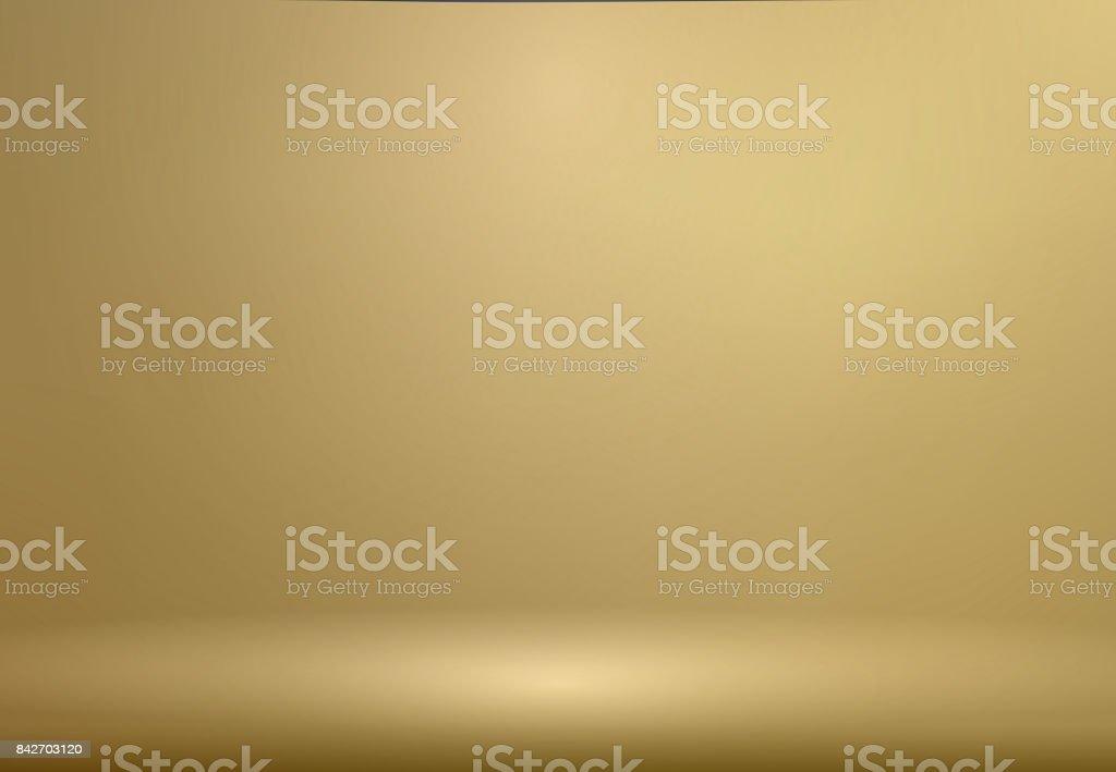 Luxus Gold Studio Raumhintergrund mit Strahlern gut als Business Kulisse, mock für die Anzeige von Produkt, Vektor Vorlage verwenden – Vektorgrafik