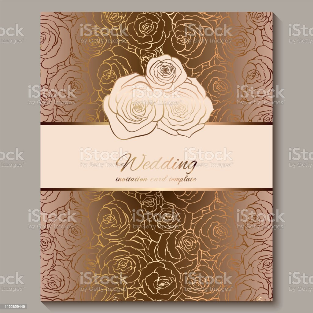 luxury gold vintage wedding invitation floral background with place for text lacy foliage made of roses with golden shiny gradient victorian wallpaper ornaments baroque style template for design stock illustration download luxury gold vintage wedding invitation floral background with place for text lacy foliage made of roses with golden shiny gradient victorian wallpaper ornaments baroque style template for design stock illustration download