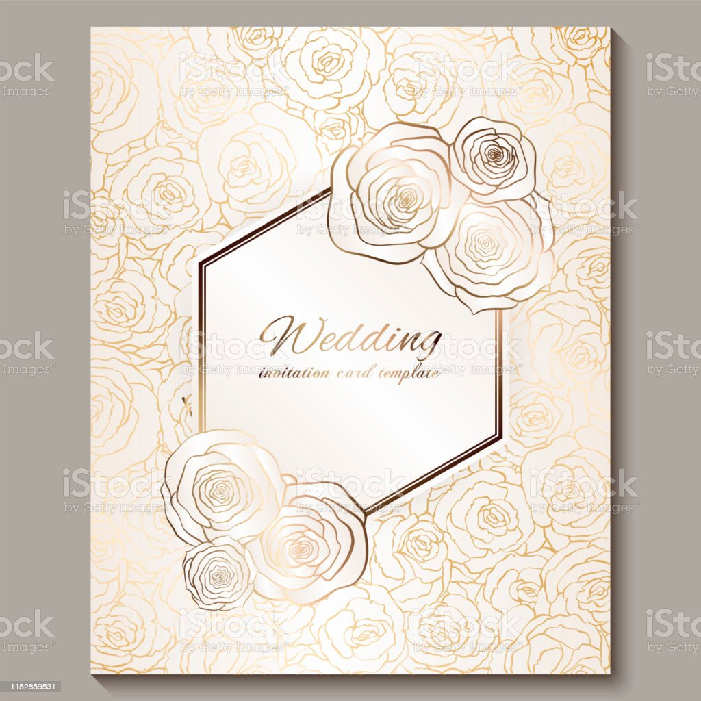 luxury gold vintage wedding invitation floral background with place for text lacy foliage made of roses with golden shiny gradient victorian wallpaper ornaments baroque style template for design stock illustration download https www istockphoto com vector luxury gold vintage wedding invitation floral background with place for text lacy gm1152859531 312928421