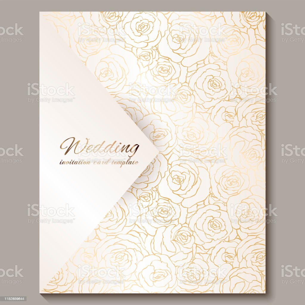 Luxury Gold Vintage Wedding Invitation Floral Background With Place For Text Lacy Foliage Made Of Roses With Golden Shiny Gradient Victorian Wallpaper