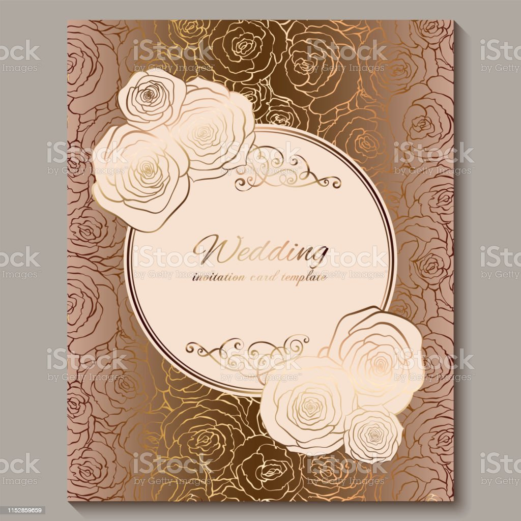 luxury gold vintage wedding invitation floral background with place for text lacy foliage made of roses with golden shiny gradient victorian wallpaper ornaments baroque style template for design stock illustration download https www istockphoto com vector luxury gold vintage wedding invitation floral background with place for text lacy gm1152859659 312928592
