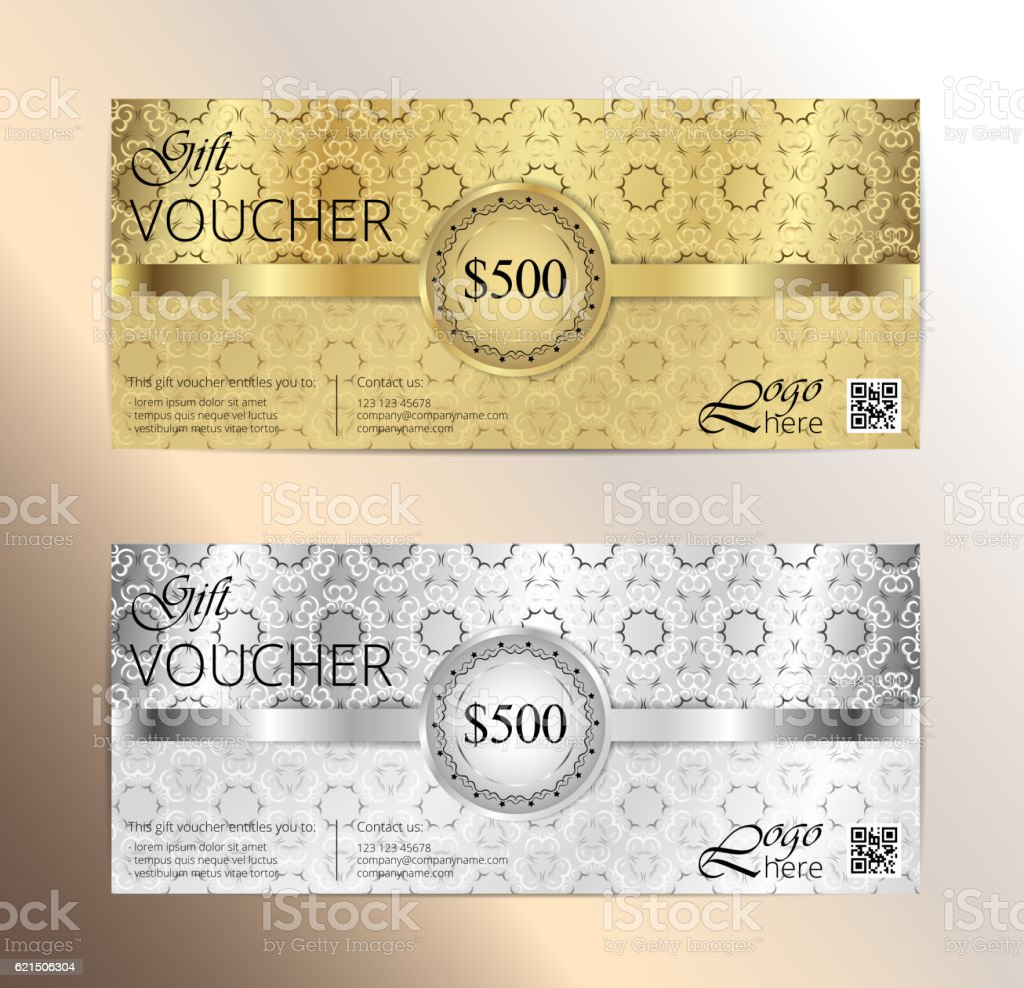 Luxury golden and silver gift certificate in vintage style luxury golden and silver gift certificate in vintage style - immagini vettoriali stock e altre immagini di anniversario royalty-free