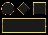 Beautiful vector design illustration of luxury golden banner set isolated on background