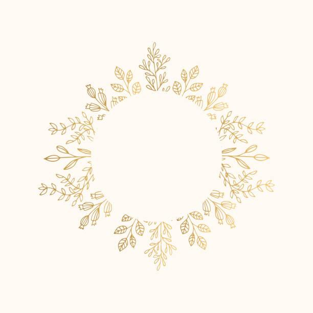 luxus golden circle rahmen für urlaub einladen, hochzeit, zertifikat. runde grenzen mit blattgold. - monogrammarten stock-grafiken, -clipart, -cartoons und -symbole