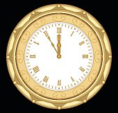 Luxury golden clock in art deco style, isolated object on black background