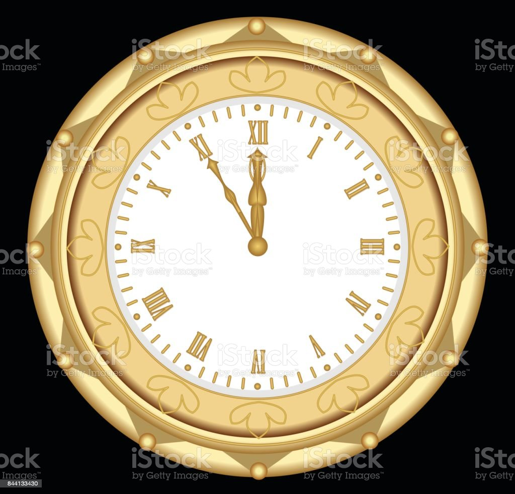 Luxury golden clock in art deco style, isolated object on black background vector art illustration
