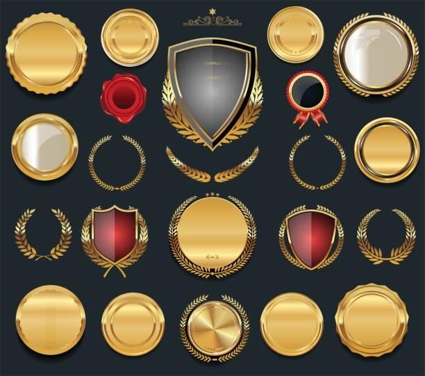 luxus golden designkollektion elemente - siegelstempel stock-grafiken, -clipart, -cartoons und -symbole