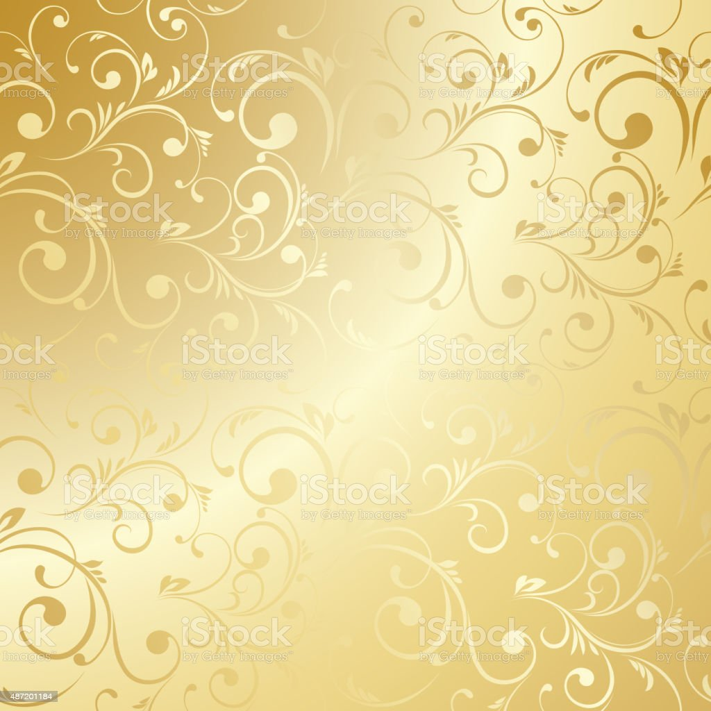 Luxury Golden Floral Wallpaper Stock Vector Art More Images Of