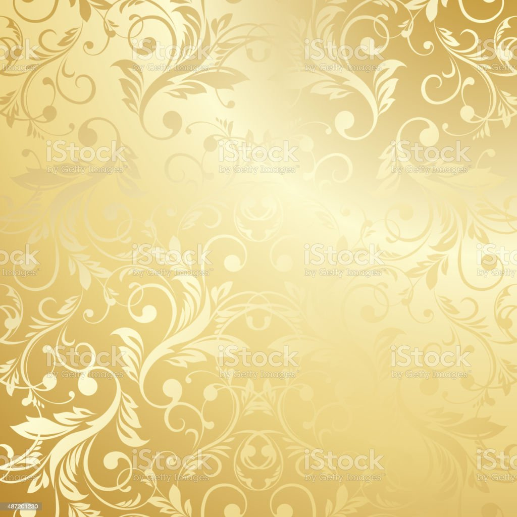 Luxury Golden Floral Wallpaper Royalty Free Stock Vector Art Amp