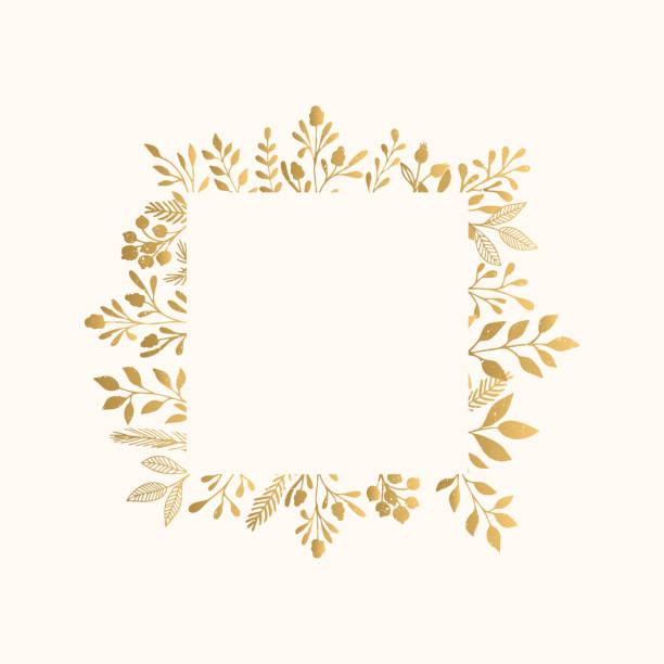 luxury golden frame for invite, wedding, certificate. - floral borders stock illustrations