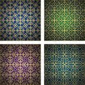 Luxury golden seamless patterns set. Vector lines design for wallpaper print, textile, furniture, fashion, wedding invitations, greetings.