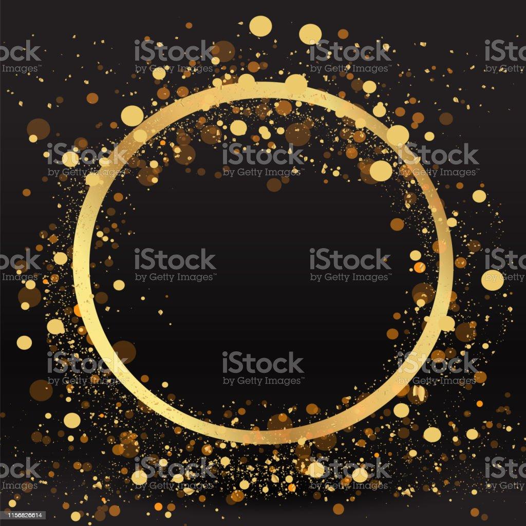 Luxury golden sparkle background, glitter border, circle frame Black...