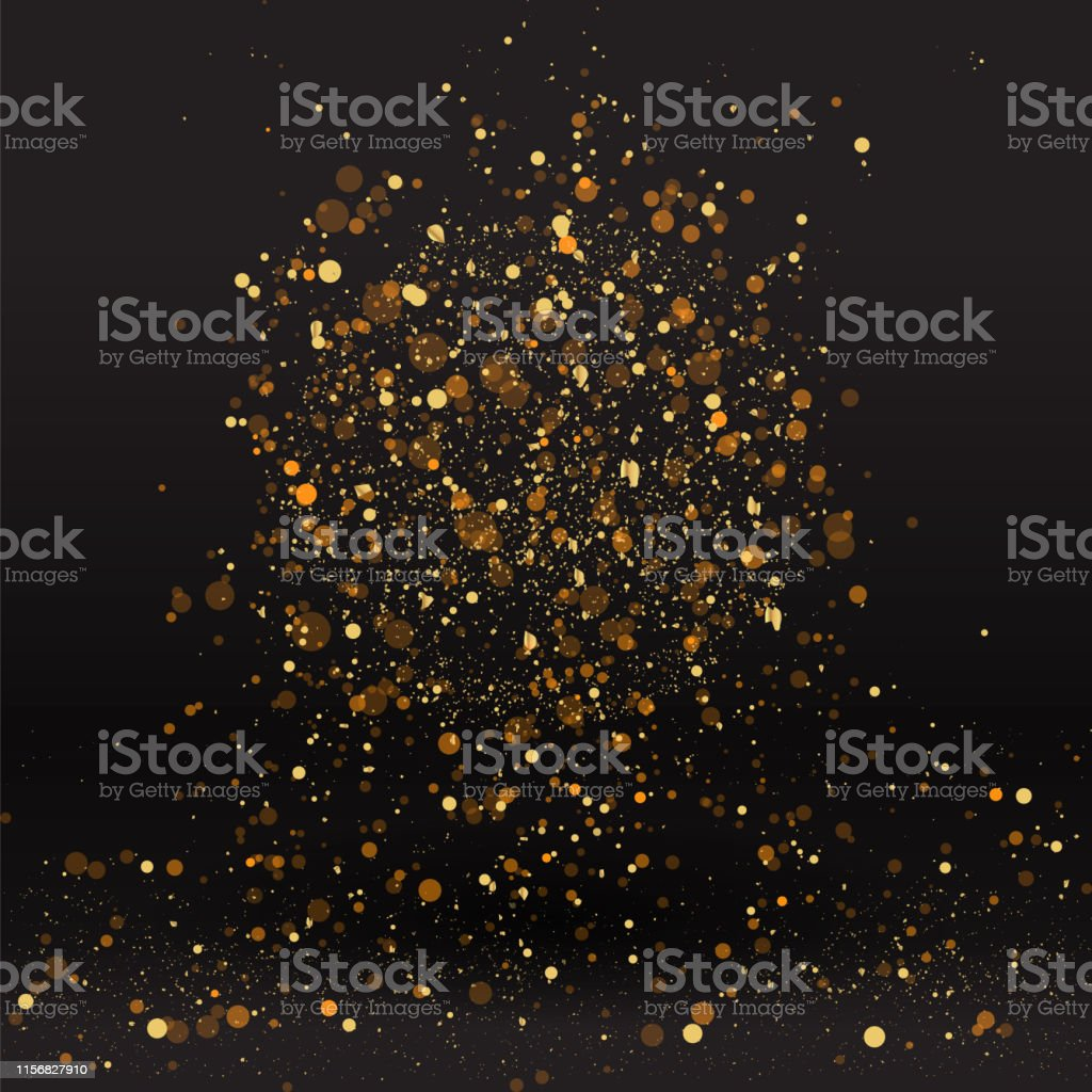 Luxury golden sparkle background, glitter magic glowing. Black and...