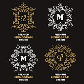 Luxury graceful logo templates and monogram designs set. Elegant logo design elements. Gold and white colors. Vector illustration