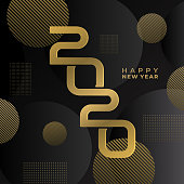 Luxury Happy new 2020 year. Modern geometric decoration gold and black colors theme. Elegant modern minimalist design with creative typography. Vector illustration eps 10.