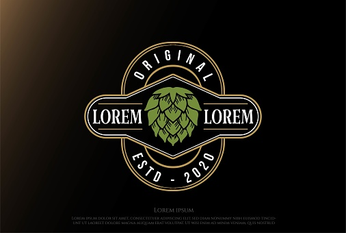 Luxury Hop for Craft Beer Brewing Brewery Emblem Logo Design Vector