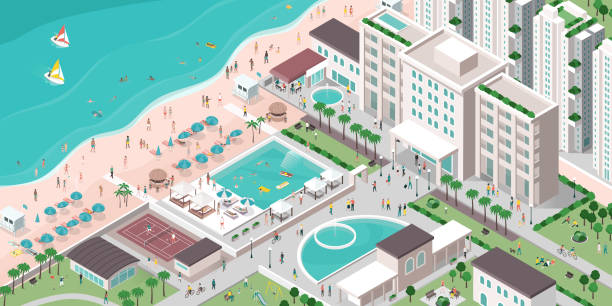bildbanksillustrationer, clip art samt tecknat material och ikoner med lyxhotell resort med människor, byggnader och strand - aktiva pensionärer utflykt