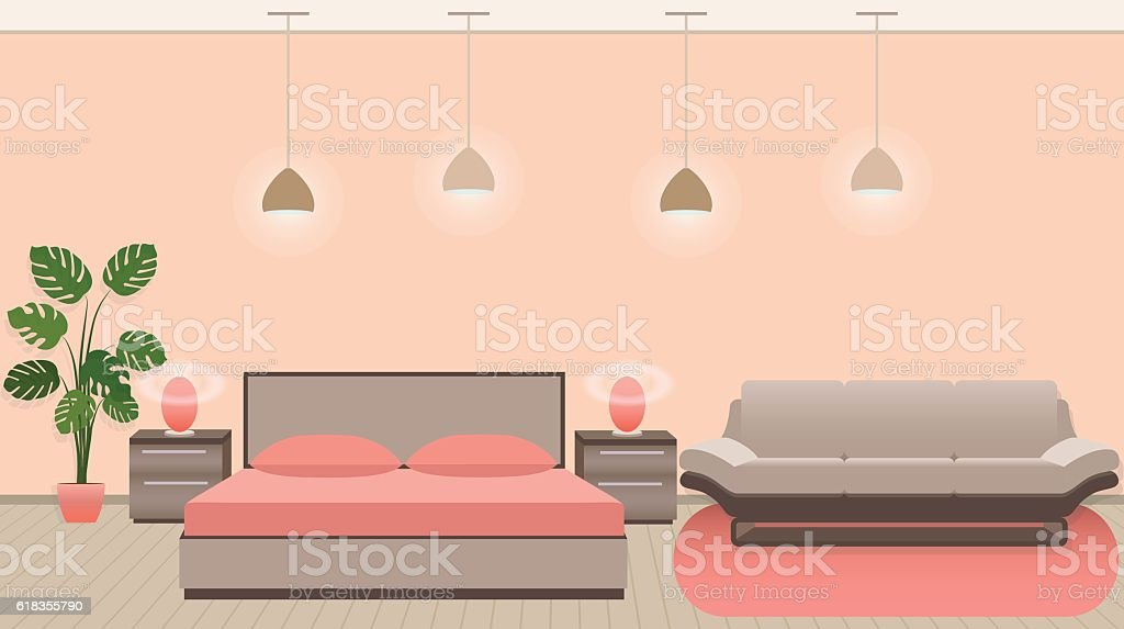 Luxury Hotel Room Interior With Modern Style Furniture And Light