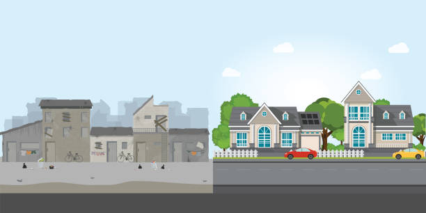 Luxury house and slum, gap between poverty and richness. vector art illustration