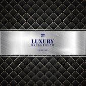 Luxury invitation black background with a pattern of squares texture and silver ribbon banner. Vector illustration