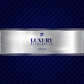 Luxury invitation blue background with a pattern of squares texture and silver ribbon banner. Vector illustration