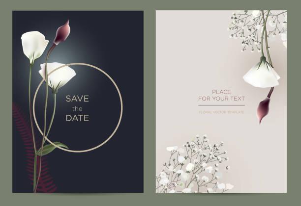 stockillustraties, clipart, cartoons en iconen met luxe uitnodigingskaart in de botanische stijl. - birthday gift voucher