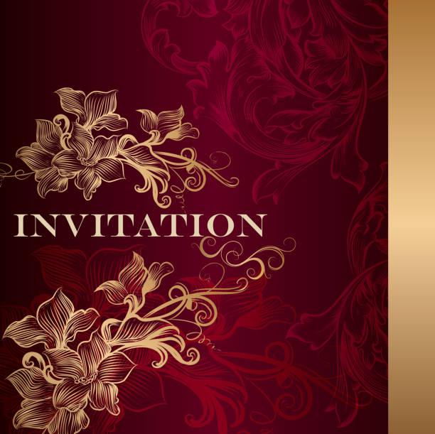 luxury invitation card in vintage style - black tie events stock illustrations