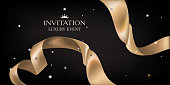 Luxury invitation card with golden curly ribbon. Vector illustration