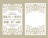 Floral pattern cut out. Frame with place for wedding text invitation. Trendy elegant template. Edge design lace die. Romantic style