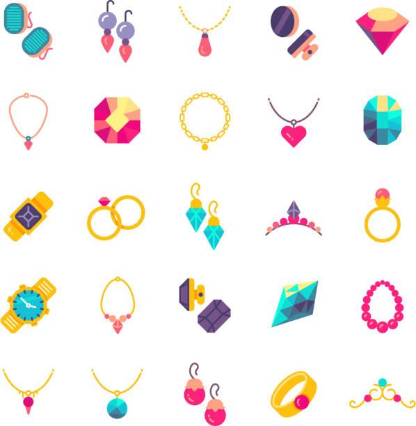 ilustraciones, imágenes clip art, dibujos animados e iconos de stock de iconos de vector plano de joyas de lujo - joyas