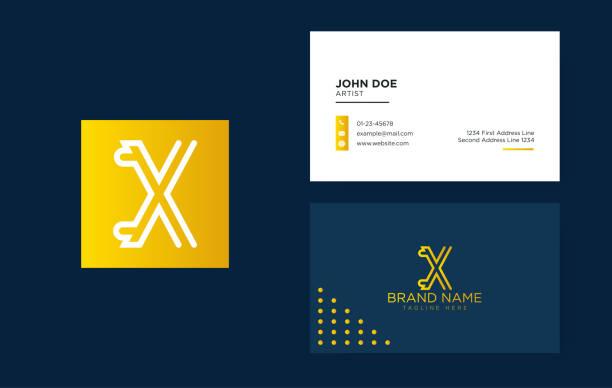 깨끗 한 명함 고급 문자 x 로고. 우아한 아이덴티티 디자인. 선형 창조적 인 모노 그램 로고-벡터 - 명함 stock illustrations