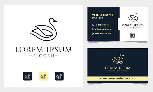 Luxury Line Art Swan and Lotus Logo Design vector