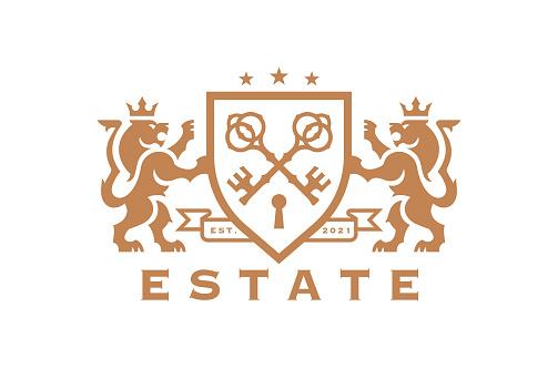 Luxury Lion key estate crest icon